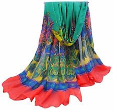 CJ Apparel Blue & Red Multicolour Bulgan Design Voile Shawl Pashmina Seconds NEW