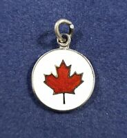 Enamel Maple Leaf Charm White and Red - Canada - 925 Sterling Silver Charm