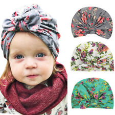 Infant Baby Girls Floral Bowknot Turban Hat Hair Head Wrap Stretchy Beanie Cap