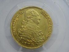 1790 MADRID 2 ESCUDOS PCGS AU58 CHARLES IV GOLD SPANISH COLONIAL SPAIN