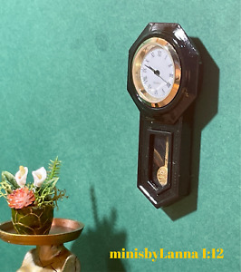 1:12 Dollhouse miniature American regulator wall working clock