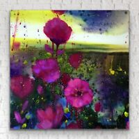 "24""x24"" - X LARGE ORIGINAL Painting - Moon Garden Poppy Art By JENNIFER TAYLOR"
