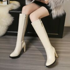 34-45 British Womens Zipper Synthetic Leather Block Heel Knee High Riding Boots