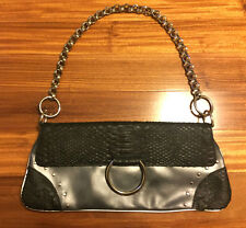 Charlie Lapson Black Leather Purse Snake Embossed Studded Chain Envelope Bag EUC