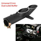 Dual Outlet Motorcycle Exhaust Muffler Tail Pipe Slip On 38mm-51mm Universal so