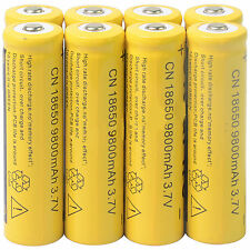 Hot 8pcs 18650 3.7V 9800mAh Yellow Li-ion Rechargeable Battery Cell For Torch AS