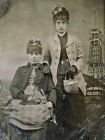 ORIGINAL - CONEY ISLAND TINTYPE - 2 WOMEN w/ THE IRON TOWER & OCEAN BACKDROP
