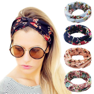 Girls Women Headband Wrap Hair Elastic Turban Head Wide Yoga Stretch Band 4 Pack