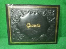 Italian FIORENTINA Black Leather Gold Edges Embossed 10 X 8 Italy Guest Book
