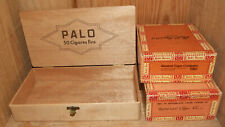3 Boîtes à Cigares anciennes PALO en Bois & 2 Robt. Burns carton