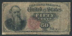 US 1863 Fractional currency 50-cent note VG/F ~ Stanton portrait (KP no. 120).