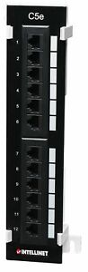 INTELLINET 12-Port Cat5e Wall-Mount Patch Panel Compatible with 110 and Krone ..