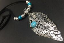 Long BLACK Suede Necklace With A Large LEAF pendant with TURQUOISE Lagenlook