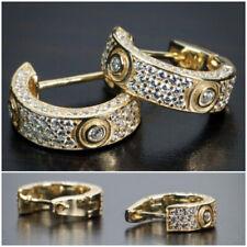 Men Hoop Earrings 18k Yellow Gold Plated Jewelry Creative Cubic Zircon Earrings