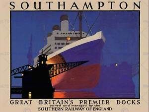 TRAVEL SOUTHAMPTON DOCK SHIP BOAT OCEAN LINER CRANE ENGLAND ART PRINT CC2219