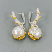 Pearl Earrings Silver 925 Sterling Vintage  /E38657