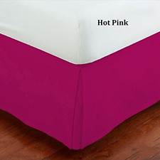 "Mk Home Mk Collection Solid Pleated Queen Bed Skirt 14"" Drop Hot Pink New"
