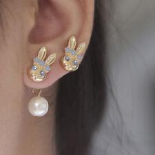 Chic Style Lovely Bunny Rabbit Crystal Rhinestone Pearl Stud Earrings Jewelry