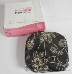 Vicarko Portable Hair Steamer Thermal Heat Cap Home Hair Spa, Black Jacquard