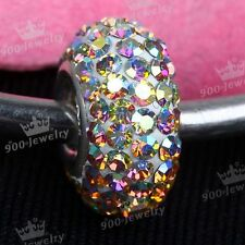 925 Silver Czech Clear AB Crystal Big Hole European Bead Fit Charms Bracelet