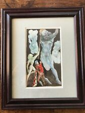 "SALVADOR DALI VINTAGE ANTIQUE LITHO PRINT PLATE SIGNED Framed/ Matted 12"" X 10"""