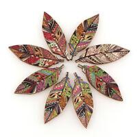 50Pcs 2 Holes Handmade Vintage Leaf Wooden Buttons Clothes Decor