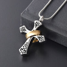 Urn Cross & Ring Memorial Ash Keepsake Necklace - Pendant Cremation Jewellery