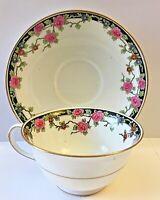 ANTIQUE AYNSLEY FINE BONE CHINA FLORAL TEA CUP & SAUCER, RG. #645266