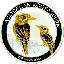 1 OZ Silber Kookaburra 2017  mit Goldapplikation