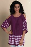 SOFT SURROUNDINGS Medium M Faded Crinkle Cold Shoulder Tie Dye Purple Tunic Top