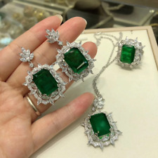 "Estate Vintage Emerald Jewelry Necklace Set With 18""Chain In 14K White Gold Over"