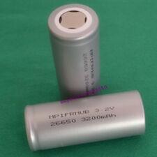 IFR 2PC 26650 3.2V LiFePO 4 Alta Temperatura Li-Ion Batería Plana 3200mAh de energía