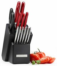 New! KitchenAid Classic Forged Cutlery Series 14-Piece Red Handle - Black Block