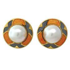 de Vroomen London 18k Gold Mabe Pearl Enamel Earrings