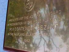More details for 1982 falklands war plaque : royal navy admiralty m.v contenter bezant rfa argus