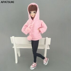 Pink Sweatshirt Doll Clothes Outfits Leather Pants Canvas Shoes For 1/6 Doll Toy