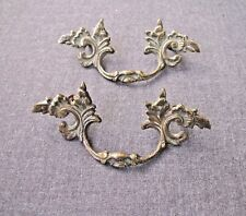 2 ANTIQUE FURNITURE DECORATED SOLID BRASS HANDLES