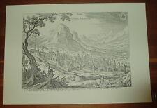 Chur alte Ansicht Merian Druck Stich Panorama 1650 Städteansicht Schweiz Graubün