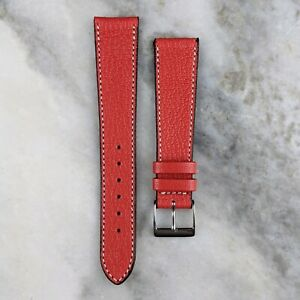 Genuine Goatskin Leather Watch Strap - Red - 18mm/19mm/20mm