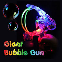 Giant LED Bubble Gun Light Up Flashing Machine Kids Outdoor Garden Toy Gift