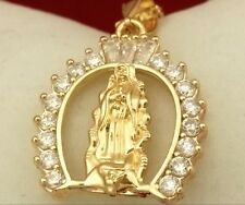 14k Gold Fairy God Mother Virgin Mary Cameo Design CZ Pendant Chain Necklace Box