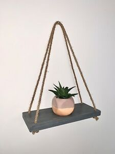Wooden Rustic Hanging Rope Shelves Home Kitchen Bathroom Wall Hanging Decor