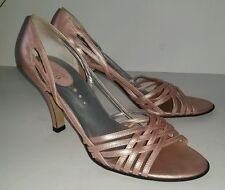 Franco Sarto metallic light pink strappy open toed heels pumps. Size 8.5
