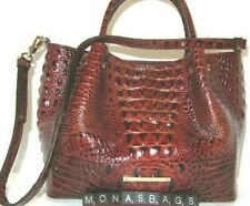 Brahmin Small Mallory Pecan Melbourne Embossed Leather Satchel Bag NWT $345
