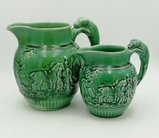 More details for x2 graduated wedgwood green majolica fox hunting jug pitcher dog hound handle