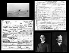Wright Brothers Photos Lot + DEATH CERTIFICATES First Flight 1903,Orville Wilbur