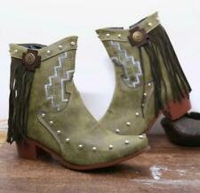 Womens New Embroidered Studs Tassel Boho Mid Heel Cowboy Ankle Boots Shoes 3203