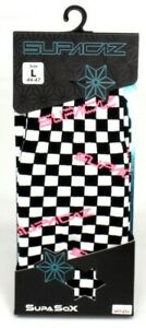 Supacaz SupaSox Cycling Socks Black/White/Pink, Large 44-47 / 10.5-12