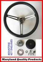 "Chevelle Nova Camaro Impala Grant Steering Wheel 15"" Black Slotted Spokes SS Cap"