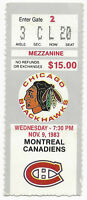 1983 ticket stub Montreal Canadiens v Chicago Blackhawks Chicago Stadium